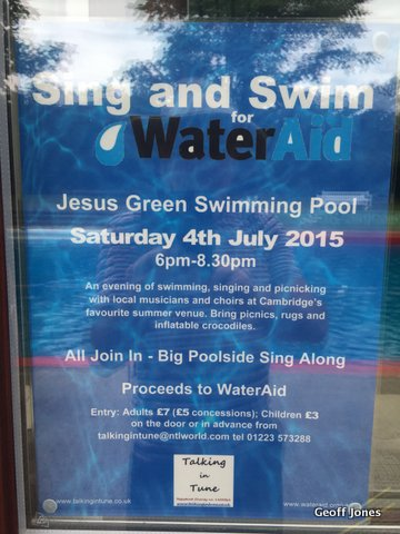 Sing swim saturday 4th july friends of jesus green pool for Jesus green swimming pool cambridge