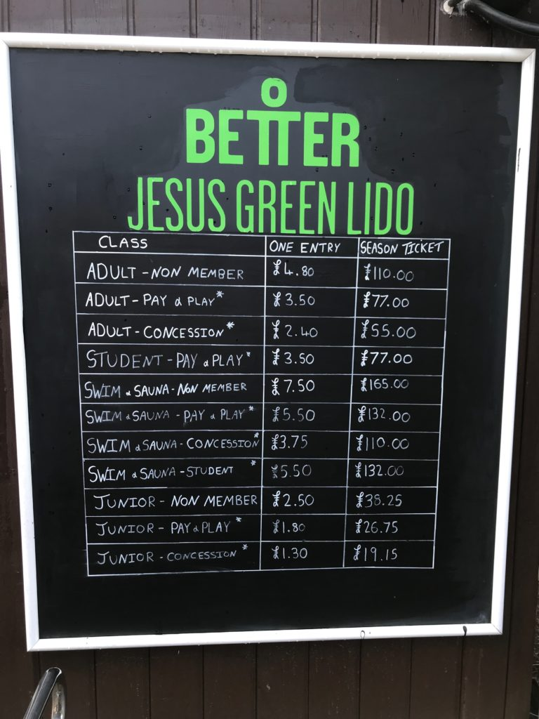 jesus green pool entry prices